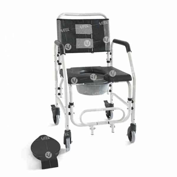 καρέκλα μπάνιου τροχήλατη αδιάβροχη με λεκάνη 09-2-165