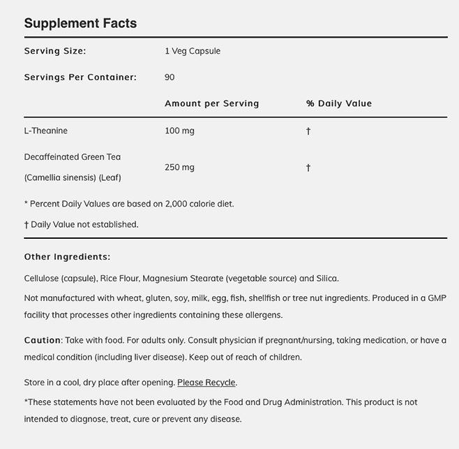 l-theanine 100 mg - 90 veg capsules