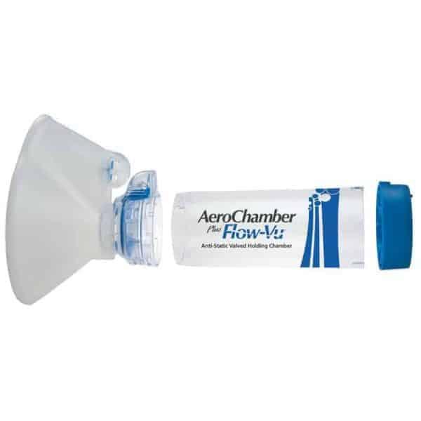 αντιστατικός αεροθάλαμος με μάσκα και δείκτη εισπνοών aerochamber plus