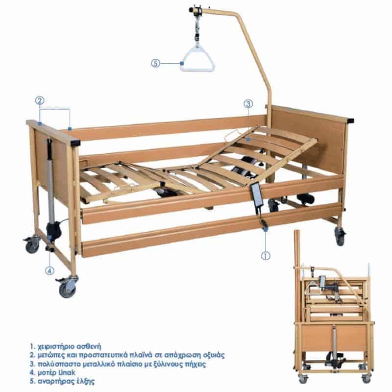 ηλεκτρικο νοσοκομειακο πτυσσομενο κρεβατι trento 2 ελληνικής κατασκευής από ξύλο οξιάς