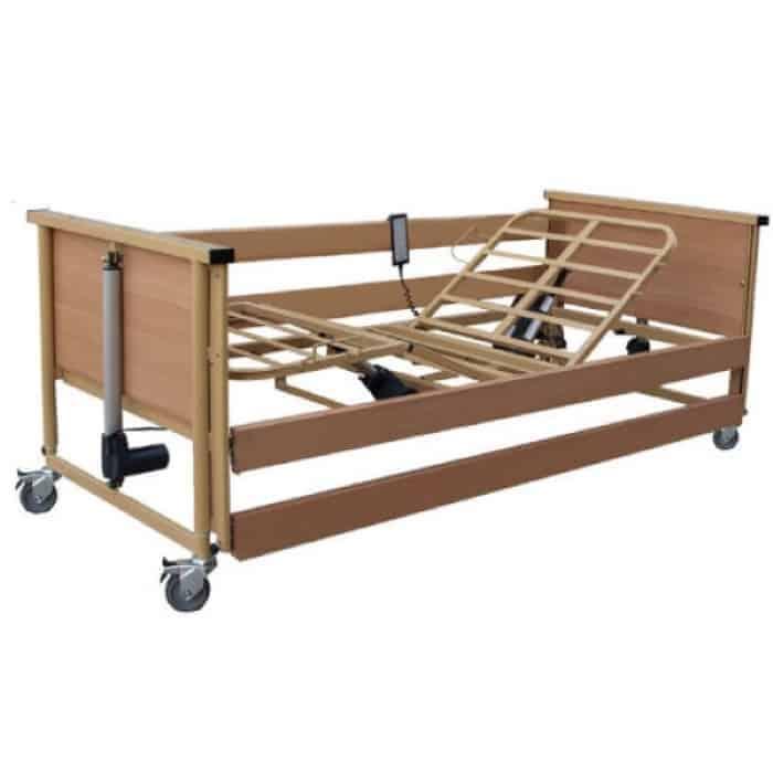 to ηλεκτρικο νοσοκομειακο πτυσσομενο κρεβατι trento 1 είναι ένα πλήρως ηλεκτροκίνητο κρεβάτι με ξύλινες τάβλες.