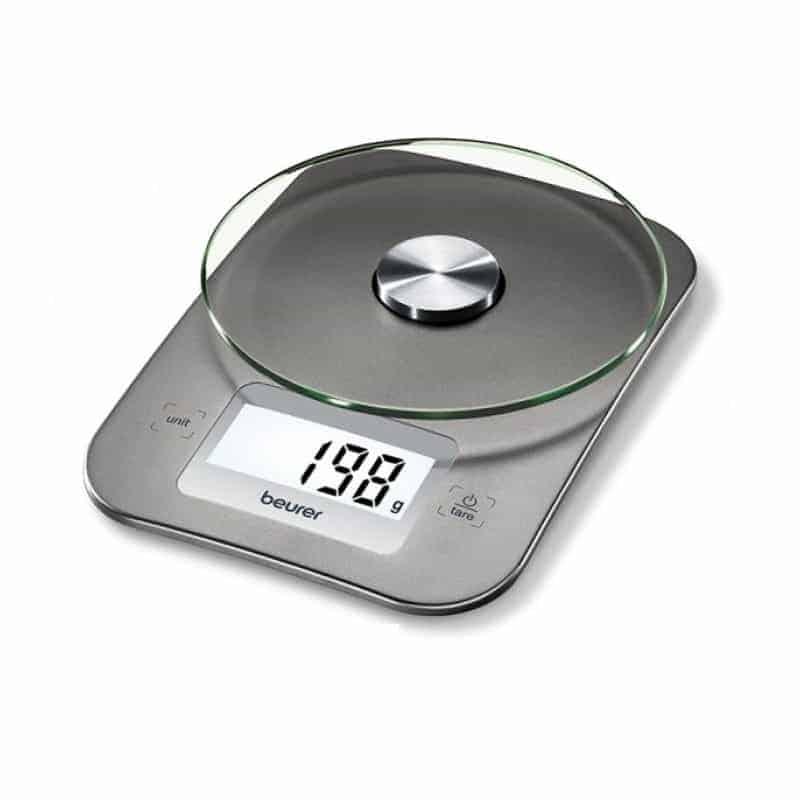 Η Ψηφιακή Ζυγαριά Κουζίνας KS 26 Beurer είναι χρώματος ασημί