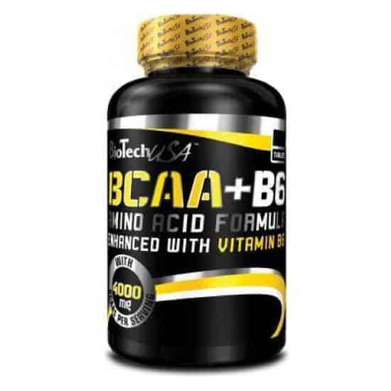 Τα BCAA+B6 100tabsπεριέχει αμινοξέα λευκίνη, ισολευκίνη και βαλίνη σε αναλογία 2:1:1.