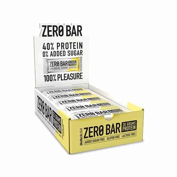Tο ZERO BAR 20x50gr BIOTECH USA δεν έχει καθόλου ζάχαρη